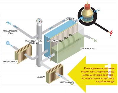 Принципиальная схема. однако это действительно так: осмотическое давление может поднять уровень морской воды на...