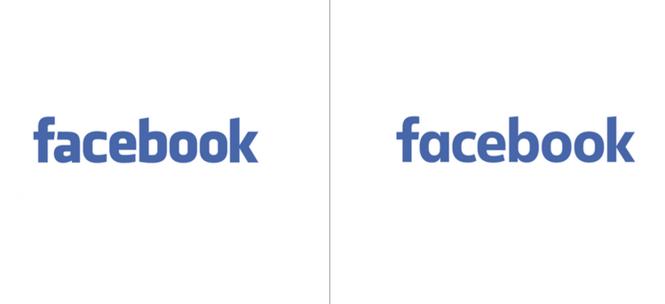 Логотип Facebook до и после обновления